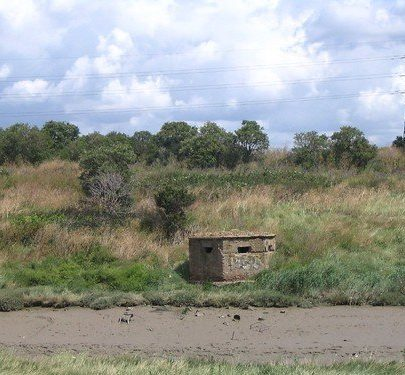 Looking back to the Downs, a WWII pill-box on the Benfleet side, facing the aggressor approaching from Canvey.