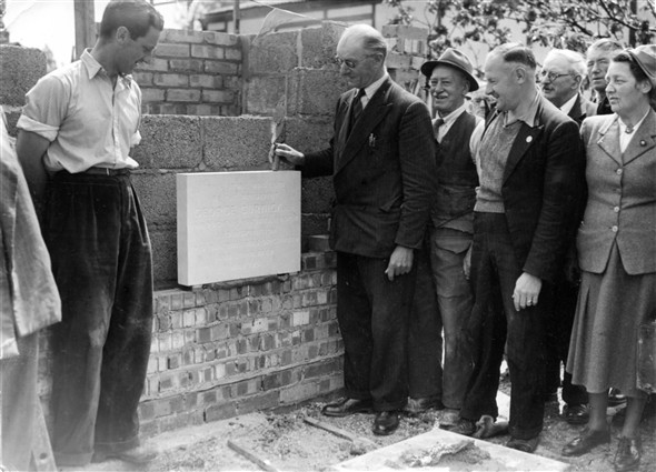 Laying of a stone in a new building May 1951
