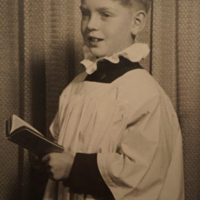 Warner as a choir boy