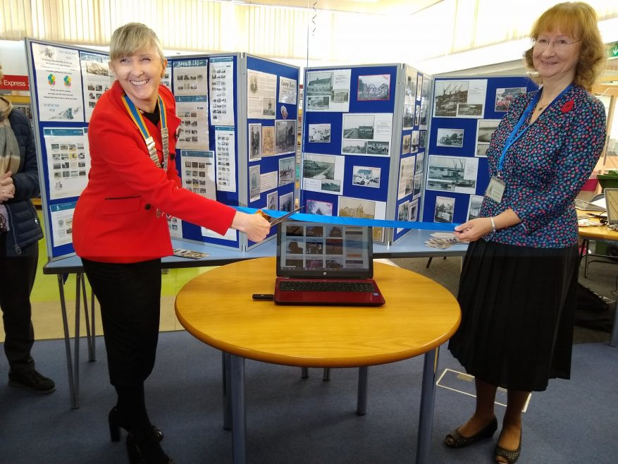 President of the Canvey Island Rotary Winch Tracy cuts the ribbon to launch the new website. Holding the ribbon is our Chair Janet Walden | Janet Penn