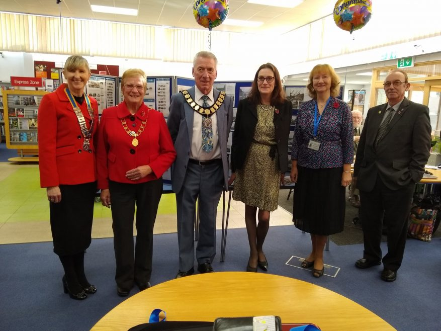 Rotary President Tracy Winch, Town Mayor Alan Alcott and his wife Anne, Rebecca Harris MP, Archive Chair Janet Walden and Rotarian Mike Machin. | Janet Penn