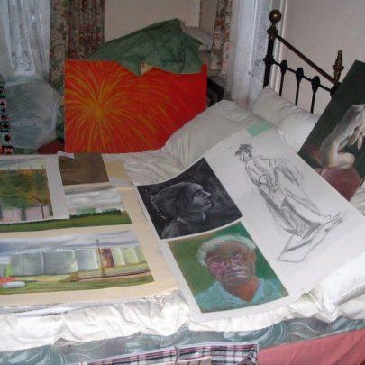 Lots of Bert's paintings   ©Dave Bullock