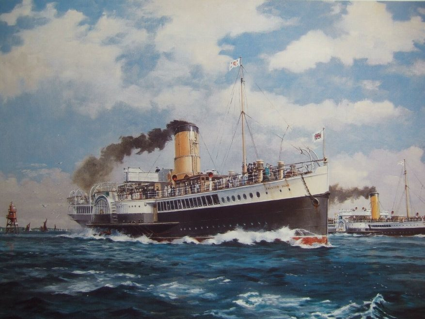 Painting by Colin Verity a Marine Artist. The Crested Eagle and Golden Eagle race past the Chapman Lighthouse.