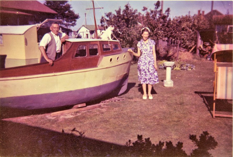 George's dad and sister June in their garden when they were building a boat. 1960s