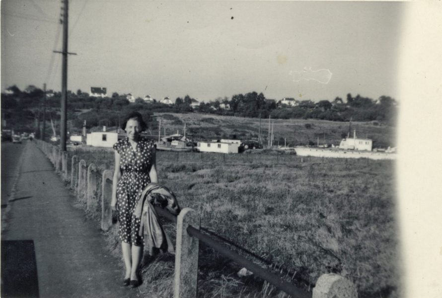George's sister June near the crossing