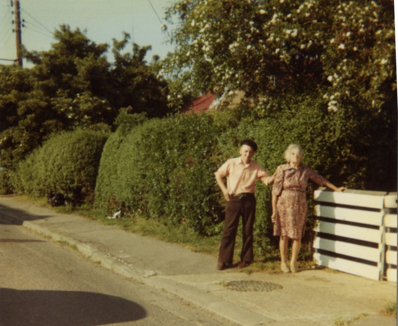 George and Hilda outside George's bungalow. About 1980.