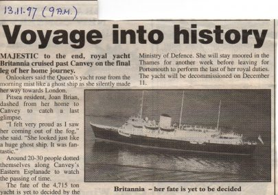HMS Britannia cruises past Canvey.