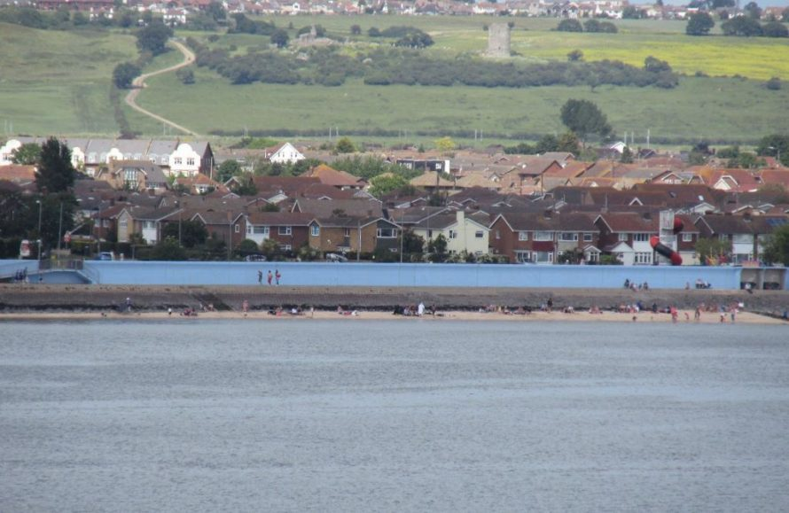 Canvey seafront near Thorney Bay with Hadleigh Castle and Benfleet Downs in the background. | J.Walden