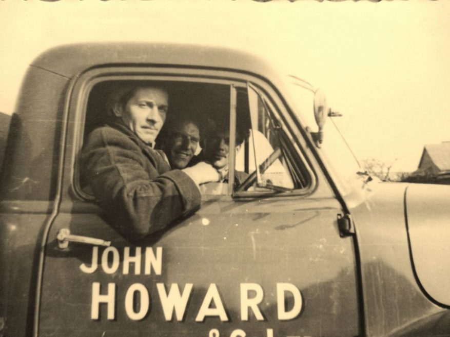 Dad in the lorry with 2 of his work mates.   J.Walden