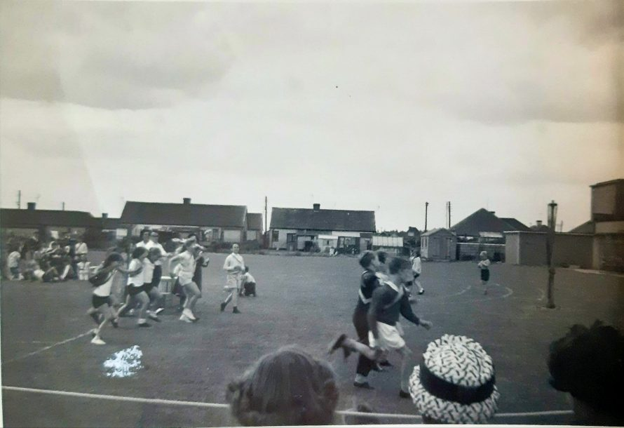 School sports day at Long Rd. School 1966. I am the girl with white shorts and top and long fair hair.