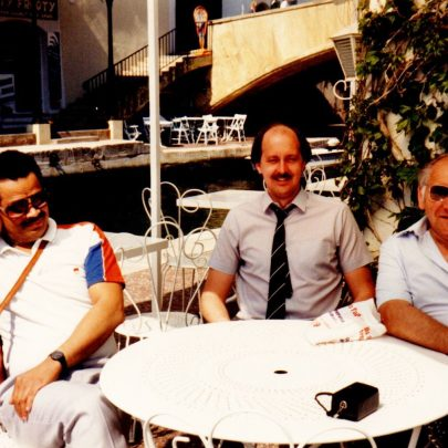 In Port Grimaud. Marc, ? and Ray, who were our 2 drivers. | J.Walden