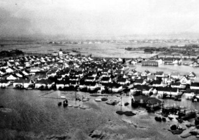 Aerial photo of the flood