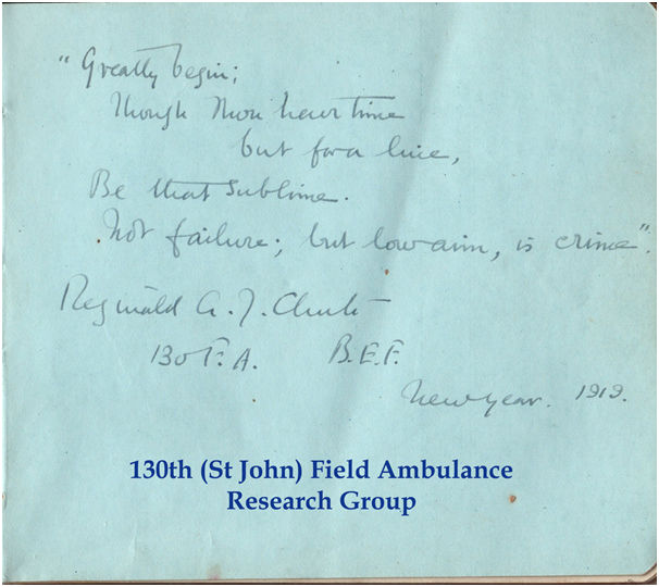 Here is a page of an autograph book signed by some of the men in the remaining cadre of the unit. | Used with the kind permission of the 130th (St John) Field Ambulance Research Group