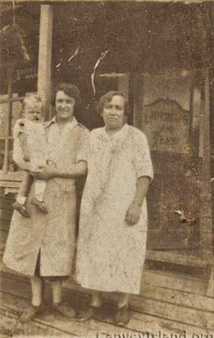 Jane Banaghen with her daughter Jinny outside their Tea Rooms at Leigh Beck