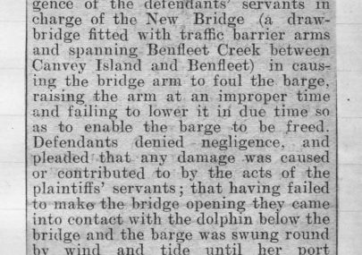 Claim for damage to barge