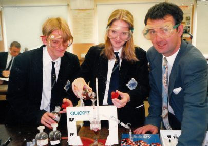 Who are these 2 eager pupils with Mr Glover?