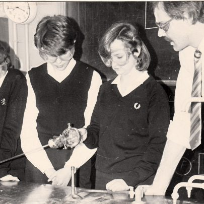 Late 1970s / 80s. Steve Spicer on right, Head of Science. | Courtesy of Canvey Bus Museum