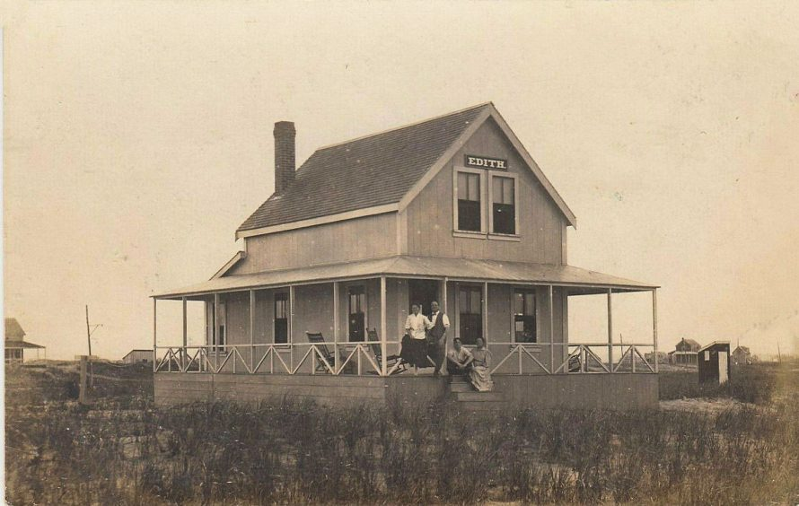 House named Edith. Will and his wife Edith sitting on railings together in front of doors. But who are Will and Edith??