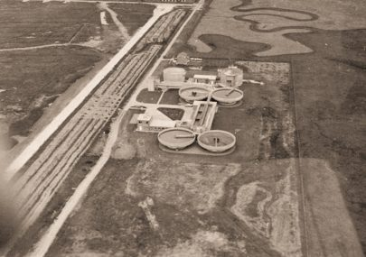 Aerial photos of the new sewage treatment plant 1967