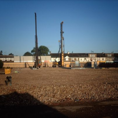 Pile driving in preparation for the new school. | Courtesy of Canvey Bus Museum
