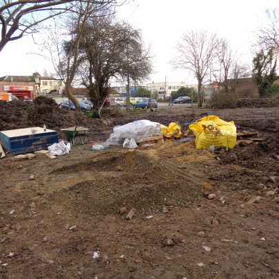 Plot for new flats between Haron Close and the Haystack Pub.   J.Walden