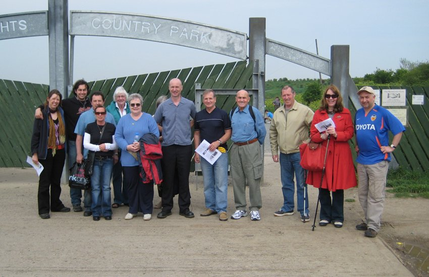 Dave and Moira to the right seen on one of our walks for Lucy Harrison's Canvey Guides Project.