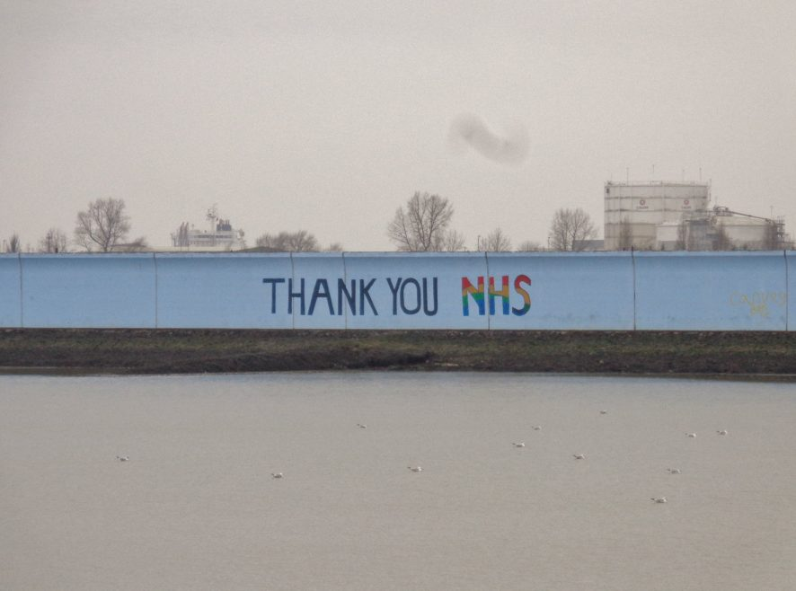 Canvey's tribute to the NHS on the eastern seawall of Thorney Bay. | J.Walden