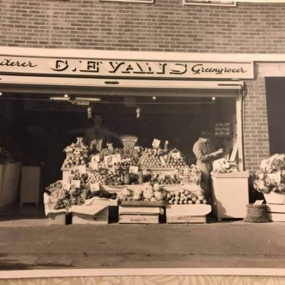 c1960 Liz: Our new shop on the site- I'm the toddler on the right!  | Liz Bushell