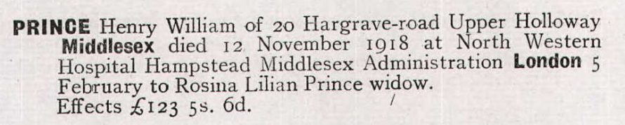 Henry William's probate entry in 1920