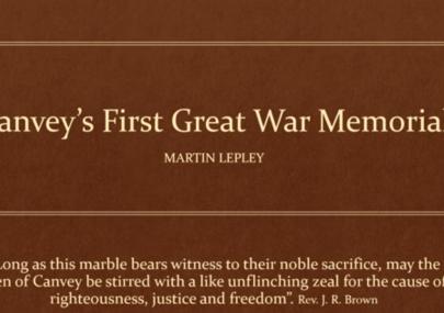 Canvey's First Great War Memorial
