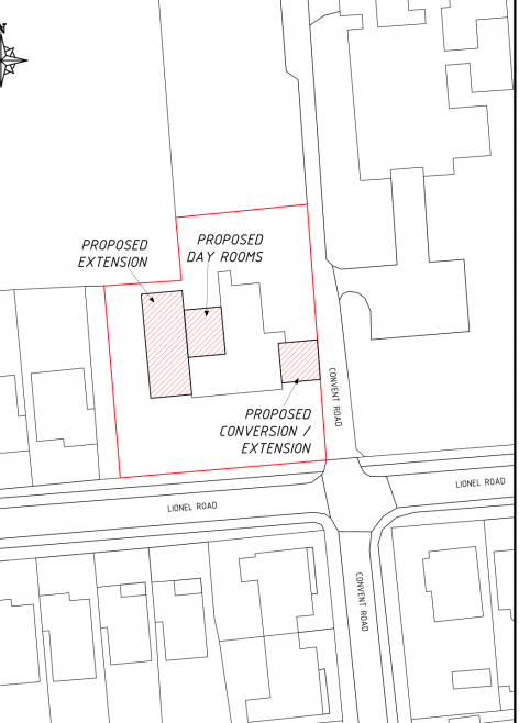 Plan showing the old and new building.