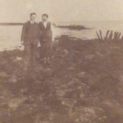 Graham Stevens' aunt and uncle, Maggie and Harold 1919 among Dutch seawall debris.