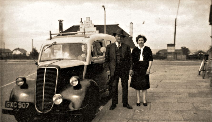 Wally and Ruby with their van outside their shop