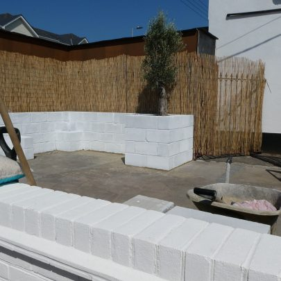 An staff outdoor area underconstruction. Remember the piles of paving slabs? | Janet Penn