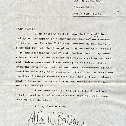 Letter from Long John Baldry to Hughie Green