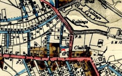 AMC Clark's working map c1920-30s. Cricksea is marked with a red cross.