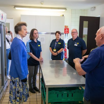 Alex escorted HRH to the Kitchen where she introduced main leads and volunteers for foodbank who explained how foodbank works Cllr Peter May (Food Bank Volunteer) Linda Brooks  (Administrator of Yellow Door) Jed Brooks     (Hadleigh Rotary) Bill Dudbridge    (Food Bank Volunteer) Michelle Dudbridge (Food Bank Founder)