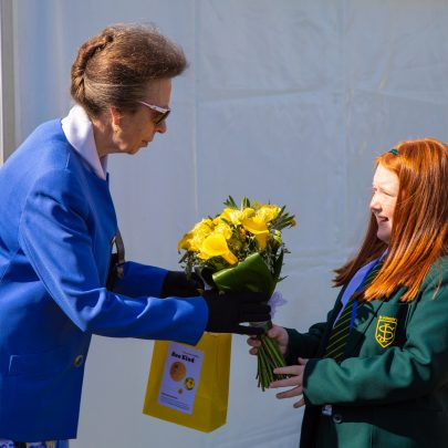 Alex escorted HRH to front of building where she thanked HRH for visiting. HRH was presented with a posy by Amelie Merrick aged 9.