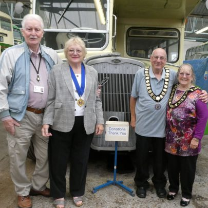 The Town Mayor Barry Palmer and his wife Dot accompanied by Deputy Doreen Anderson and her husband John.