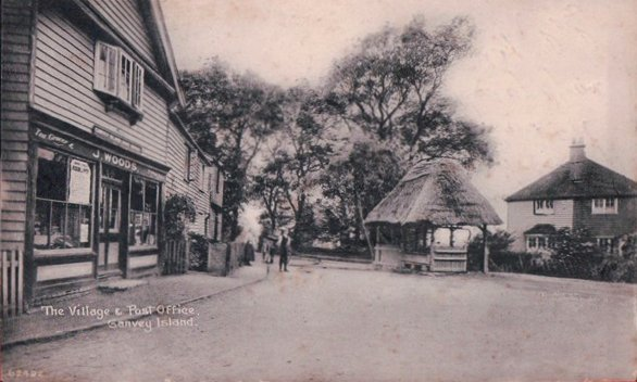Looking down Haven Road with Woods PO on the left, village pump and dutch cottage in the middle | Published by kind permission of the late Mr H.A. Osborne and Mr R.W Osborne.