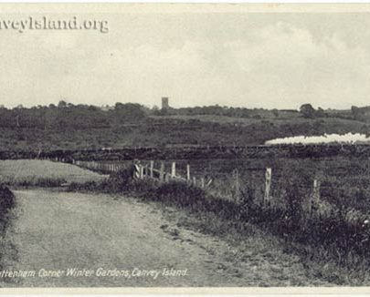 Wintergardens Path - This still exists in the Golf Course. Tattenham Corner was named after a race horse. Note the Water Tower & steam train across the creek in Benfleet. | Post Card thanks to Jim Gray