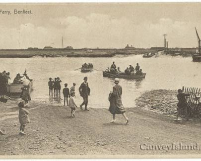 Ferry boats to Canvey with the farm cottages & Water Side farm (left) in background | Jim Gray