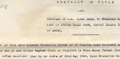 Oysterfleet Farm deed showing Frederick Hester residence