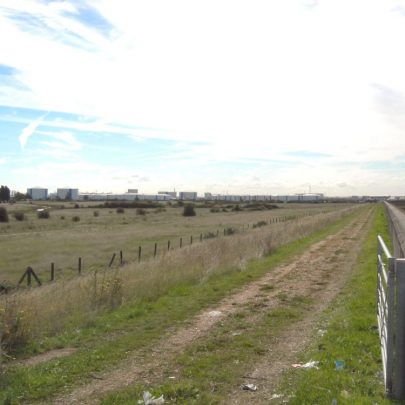 Looking south with Gas depot on the left, creek on the right | Janet Penn