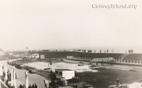 View South East from the Casino balcony showing the new Boating Pool and Concord Cafe behind the Sea Wall | ©Swann Family