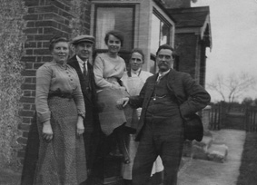 A family portrait at Stanley Villa in Gafzelle Drive, Leigh Beck. From left, Ada Ogg, her son David (2) and Alice, his wife, with her mother (also Alice) and father Charles Pound. That corner of the house in Gafzelle Drive features in many of the family photos.