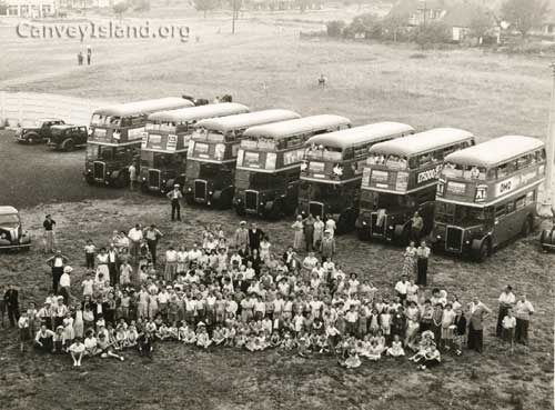 1950: London passenger buses Transport Board Social Club annual outing - Possibly looking North East from the Casino   © The Swann Family