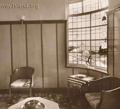 The Hotel Monico Office on the first floor at the front - This stained glass window is still in place | The Swann Family ©