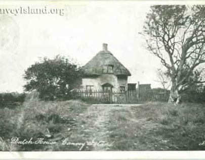 The 'Dutch House' Canvey Island - Rare View with a no longer existing path to St Katherines Church   David Bullock