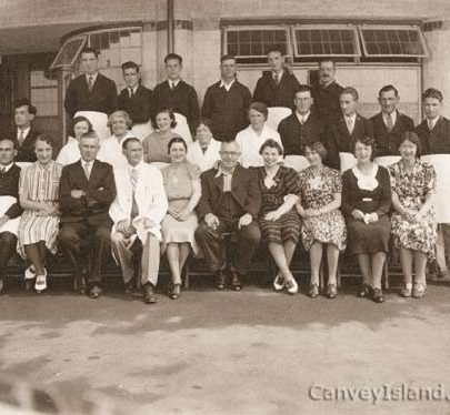 Staff at the opening of the Hotel Monico: Back Row 3rd from left is Clary Swann, also Bill Lineham, Middle Row: Harry Knocks, Mrs Crane, Walley Scales, Jim Moxley & Stan Paveley, Front Row: Bill Crane (left), Mr & Mrs Belwade (Clark of Works), John Austin, Gladys Beumont (daughter) & Rosa Keegan* | The Swann Family ©